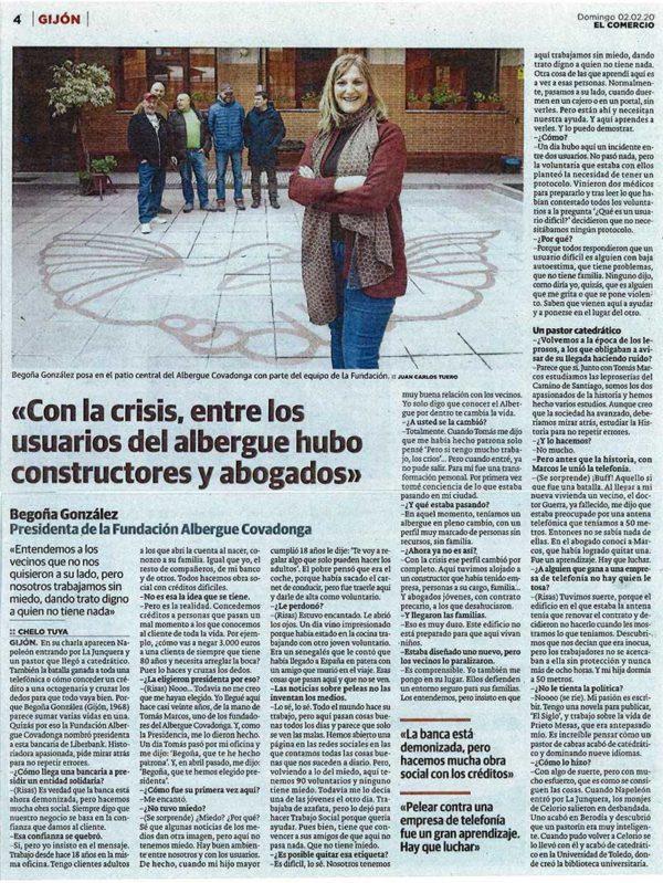Imagen de la página del periódico con la entrevista